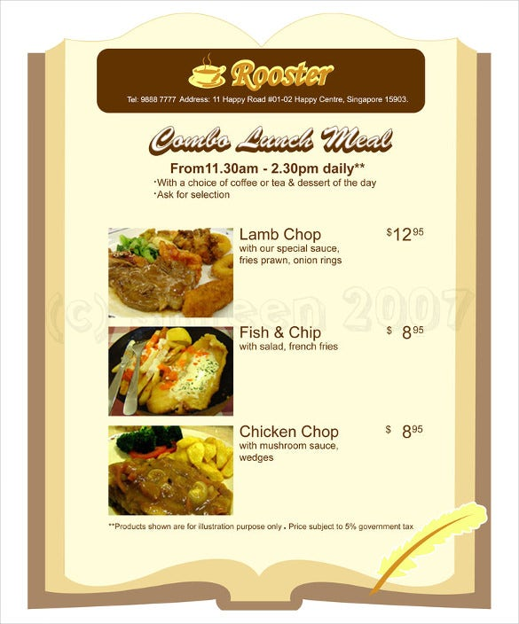 Sample Lunch Menu Design Download