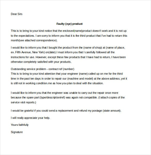 customer complaint letter poor services template