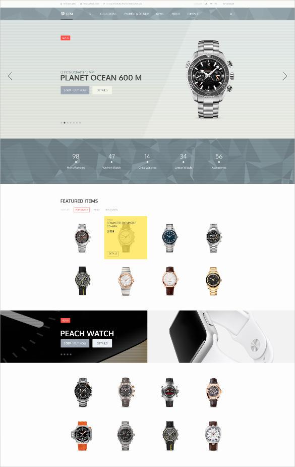 luxury watch jewelry e commerce psd theme