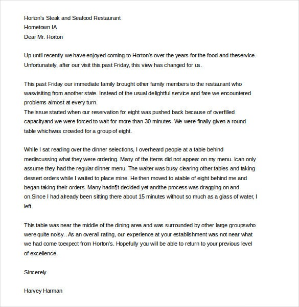 restaurant customer complaint letter template