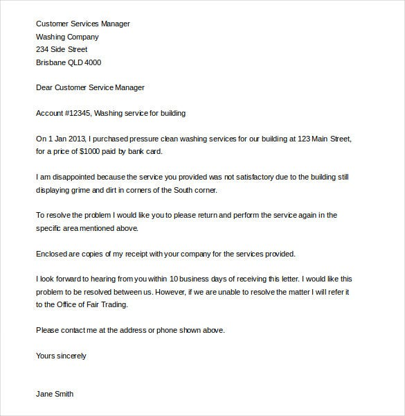 services customer complaint letter template