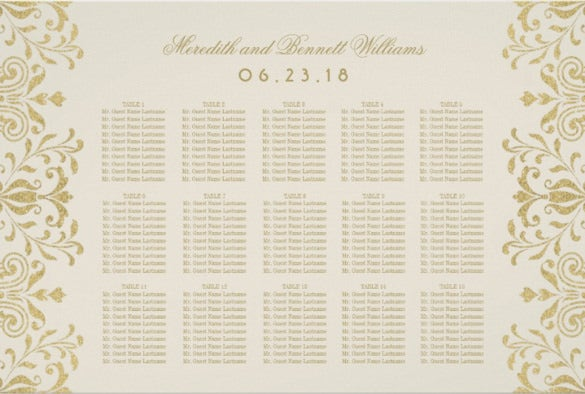 vintage wedding chart template download