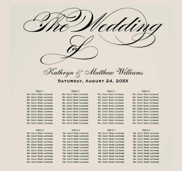 wedding chart template with attractive font