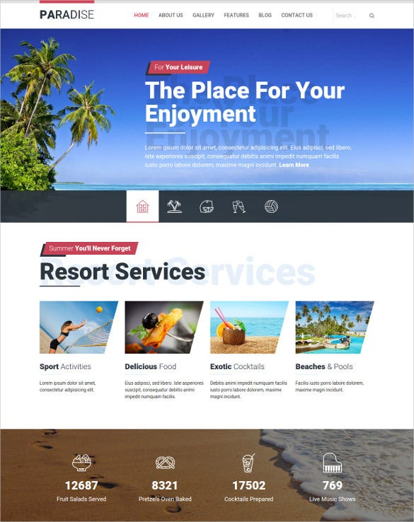 paradise holiday joomla template