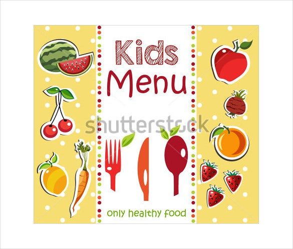 Sample Kids Menu Design Template