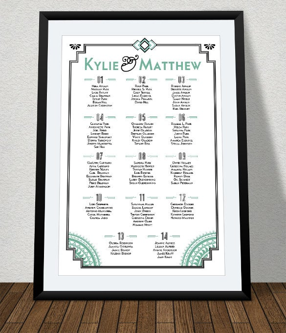 weddding chart template for free download