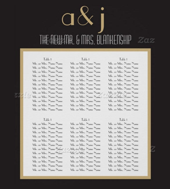 ready to print wedding chart template