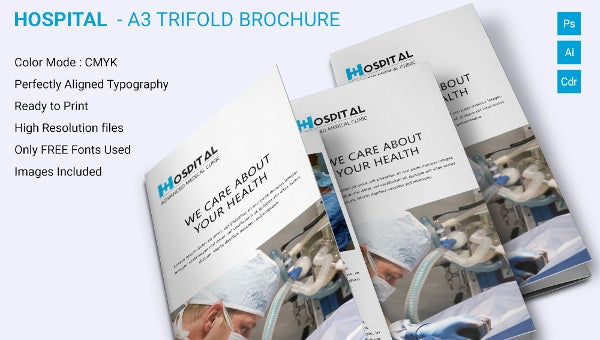 Simple Hospital A3 Trifold Brochure Download