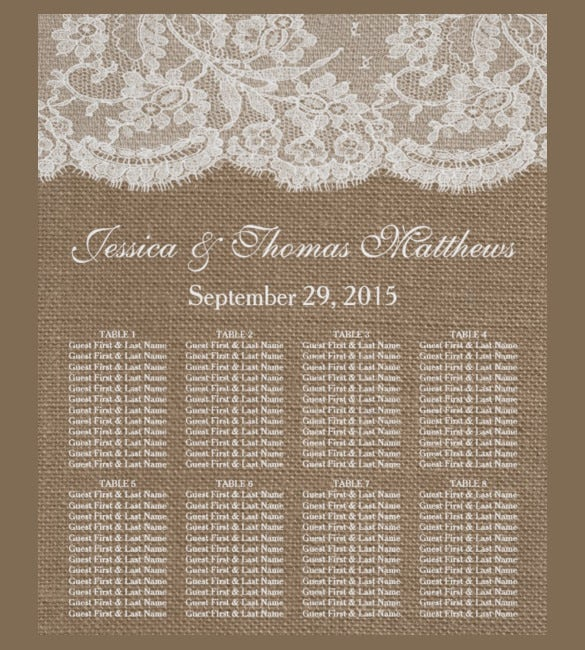 wedding chart template with lace design