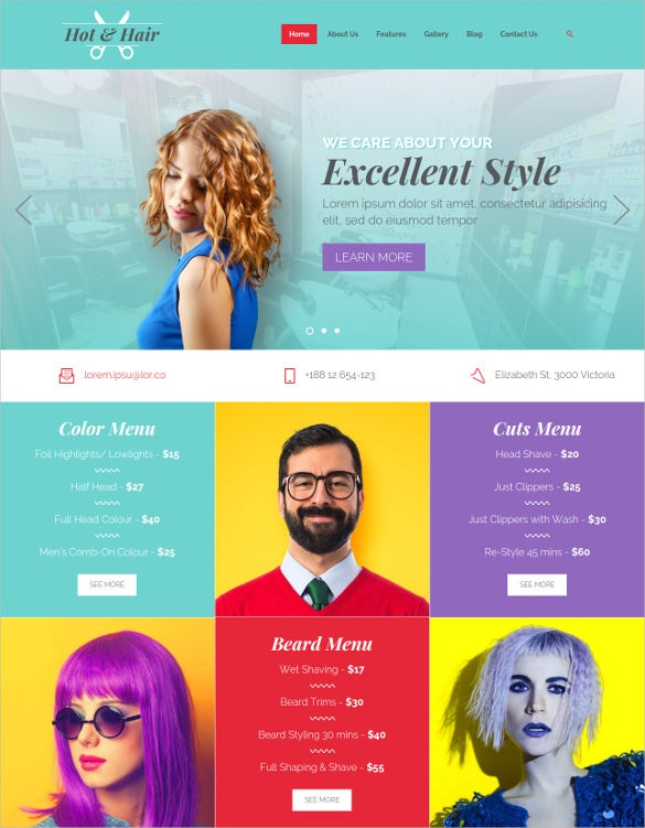hot hair joomla template