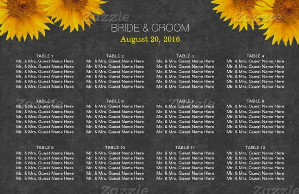 wedding chart template with floral theme