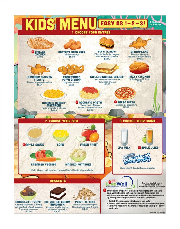 20 Kids Menu Templates Free Sample Example Format Download