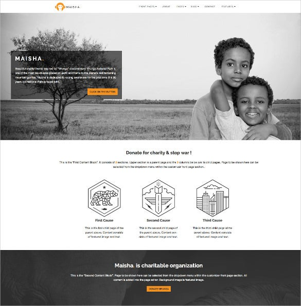 charity volunteer non profit html5 wordpress theme