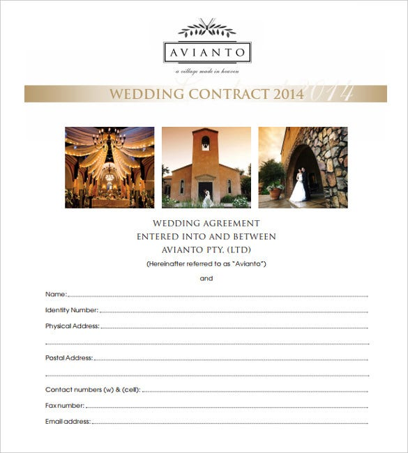 print ready wedding contract template download