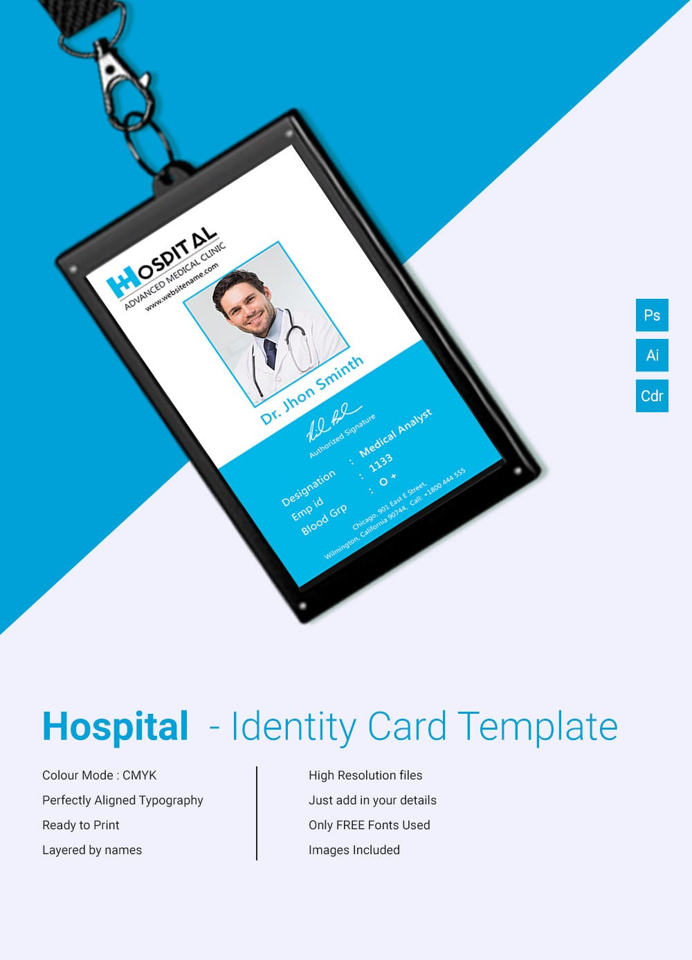 18 id card templates free psd documents download free for Hospital id badge template