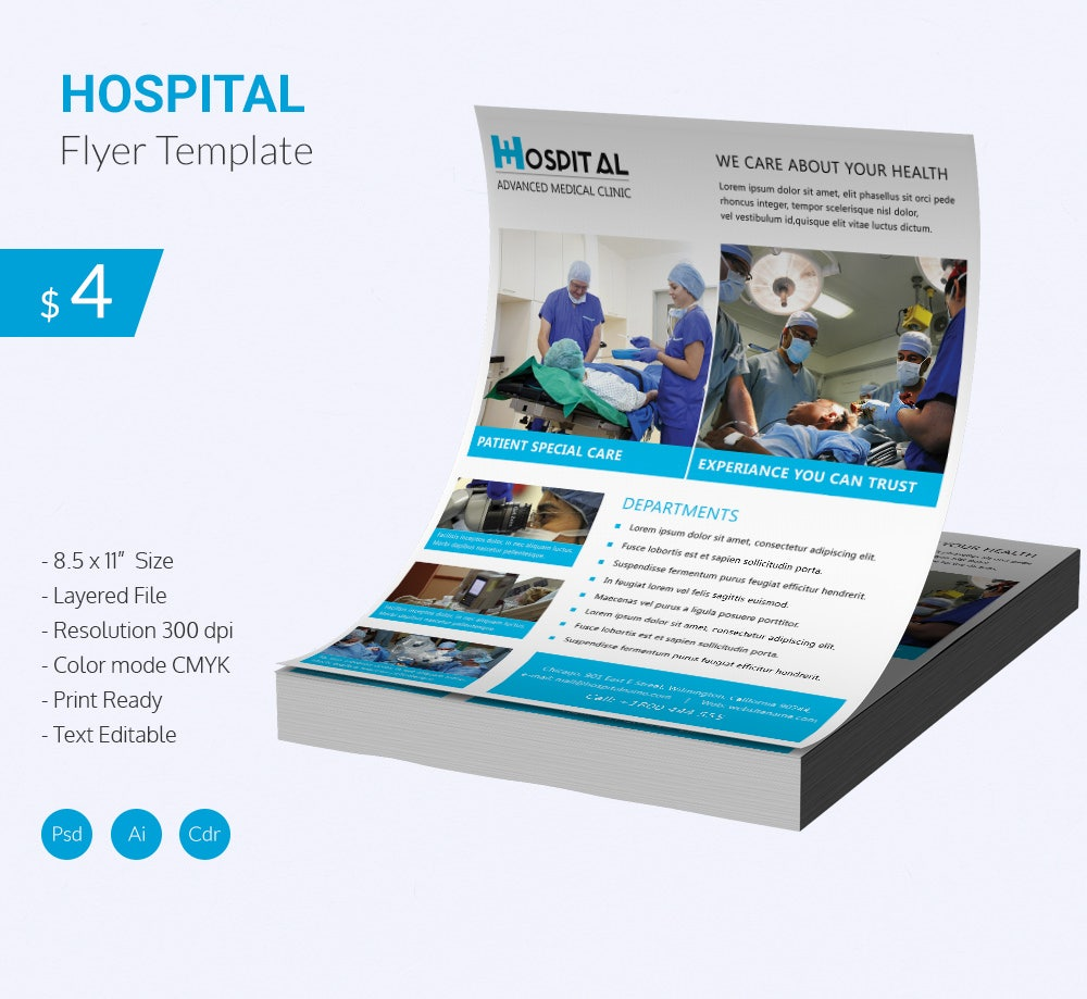 stunning hospital flyer template download