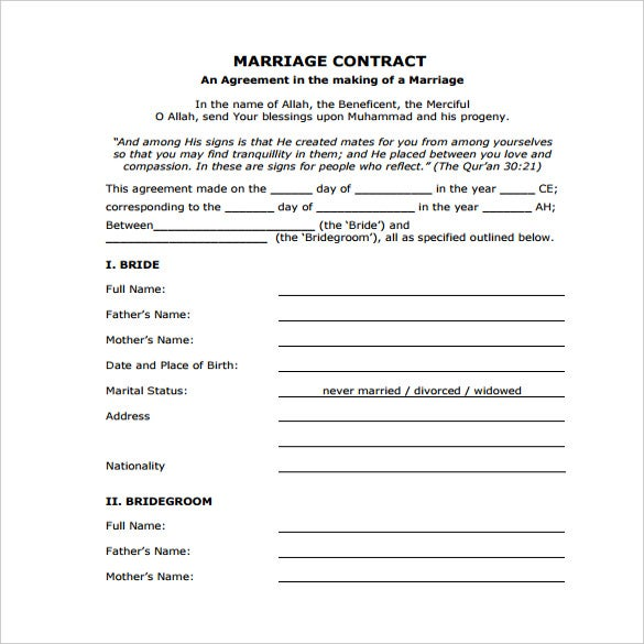 legal wedding contract template free download