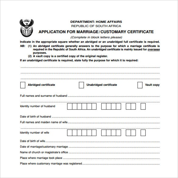 wedding contract certificate template download