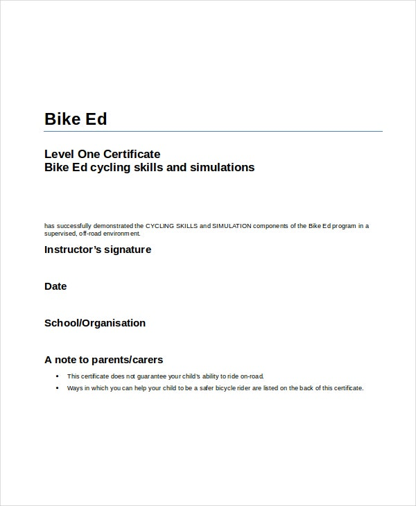 bike cycle riding certificate