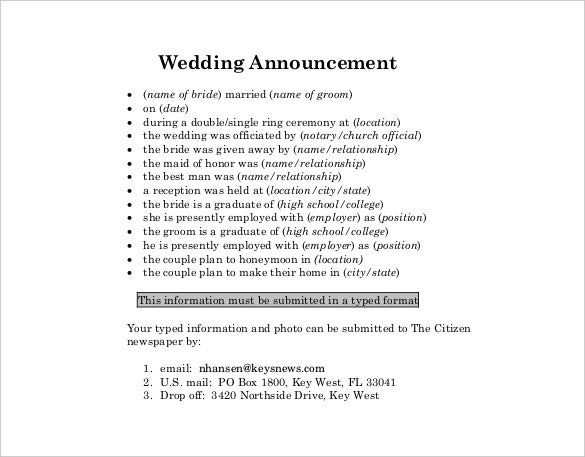 Wedding Announcement Template   Free Word Pdf Documents