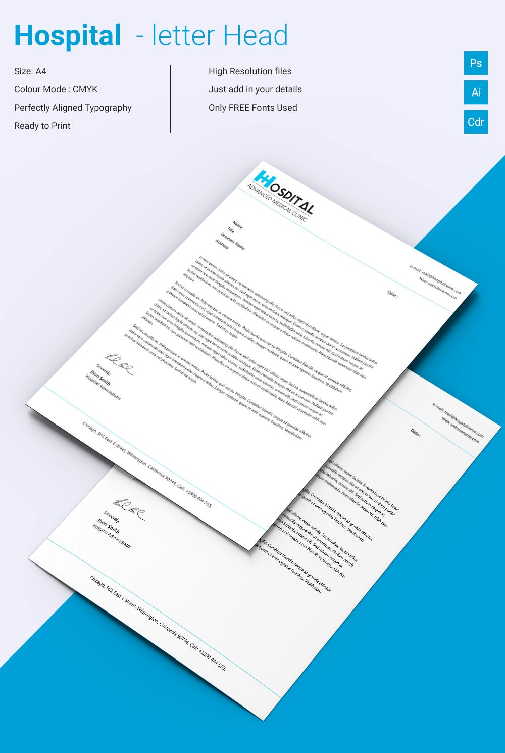 Fabulous Hospital Letterhead Template Download  Best Free Letterhead Templates