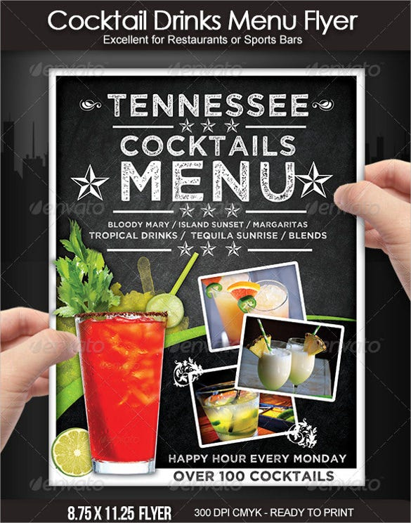 example cocktail drinks menu templates