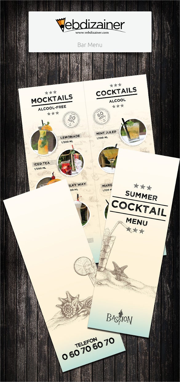 example bar cocktail menu template download