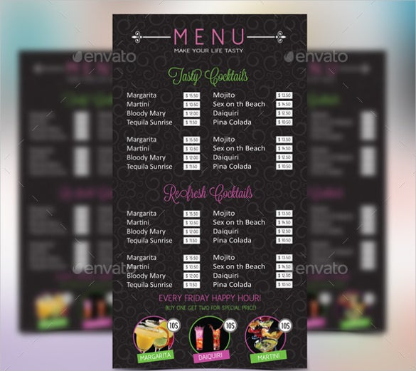 cocktail menu vector eps format download