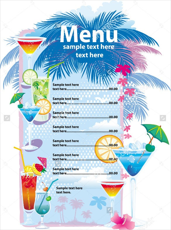 sample cocktail menu download