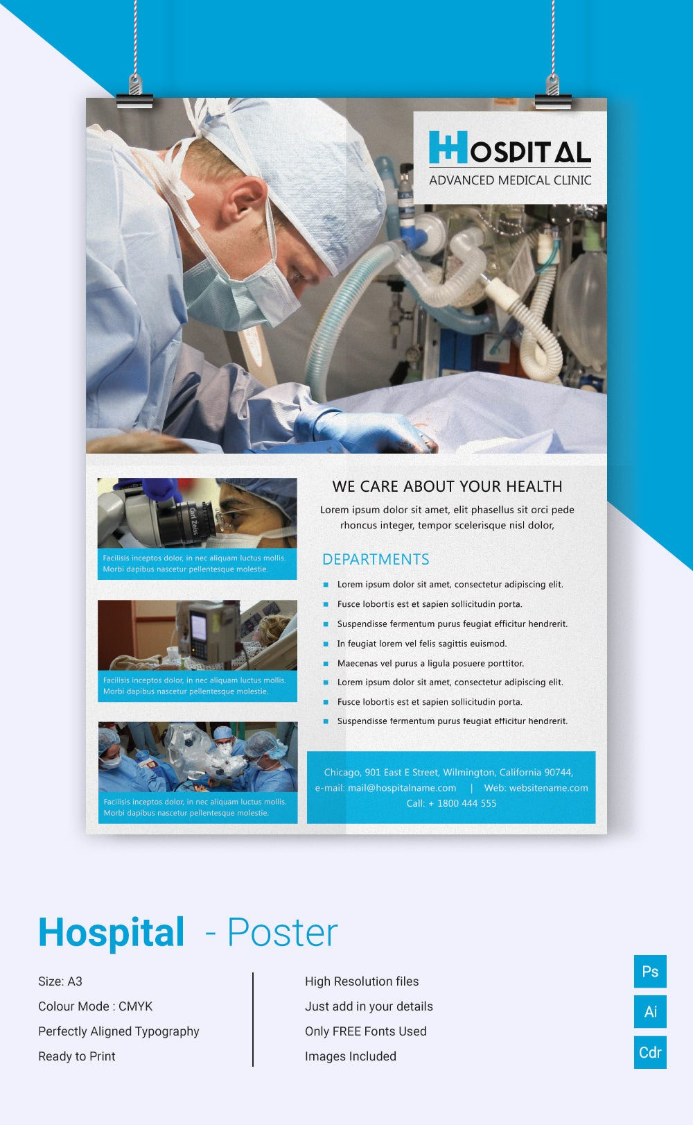 Awesome Hospital Poster Template Download