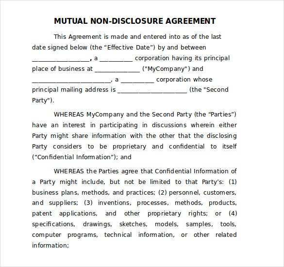 mutual non disclosure agreement template free word