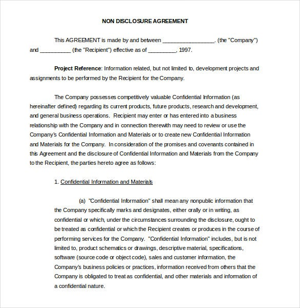 20 word non disclosure agreement templates free download for Free non disclosure agreement template