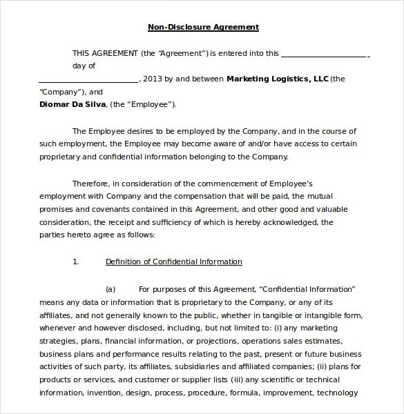Non Disclosure Agreements Non Disclosure Agreement Template Non