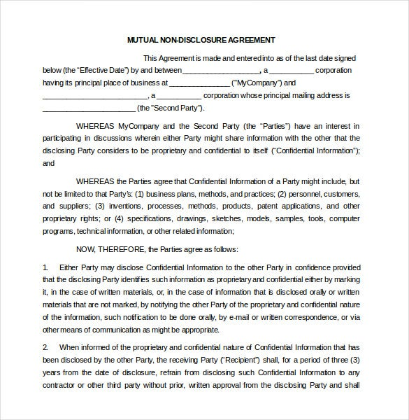 Nda Agreement Template Word Kleobeachfixco - International non disclosure agreement template