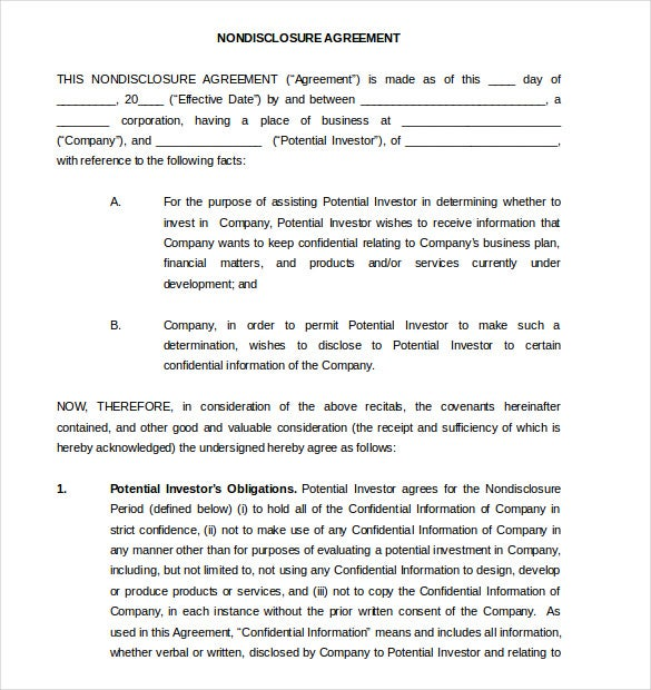 Word Non Disclosure Agreement Templates Free Download  Free