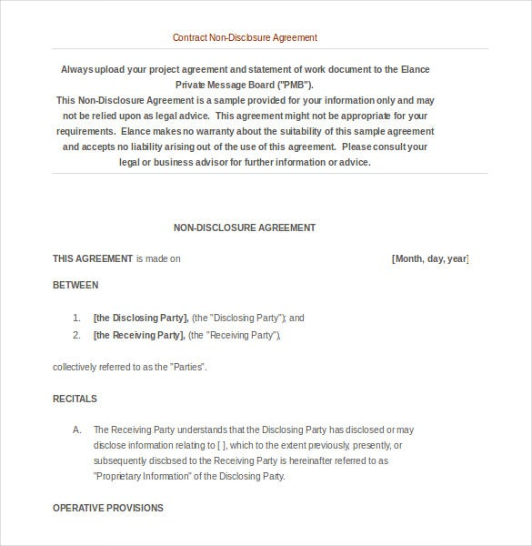 non disclosure agreement contract