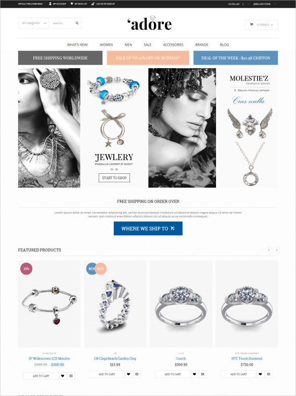 responsive fashion jewelry magento website theme