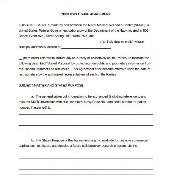 20 Word Non Disclosure Agreement Templates Free Download Free