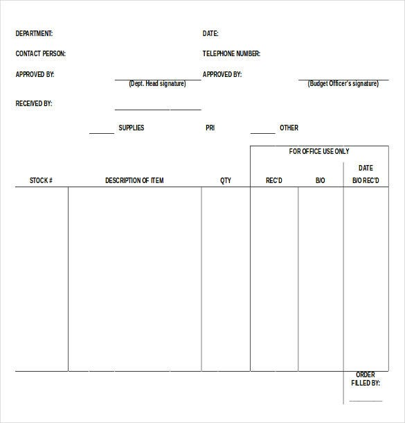 Blank Supply Order Request Form Pertaining To Order Forms Templates Free