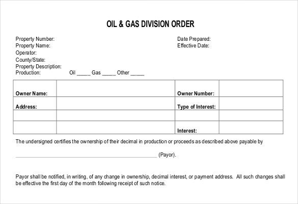 Division Order Model Blank Form  Order Forms Templates Free