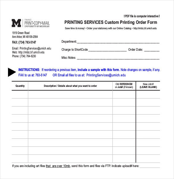 Blank Order Form Templates   Word Excel Pdf Document Download
