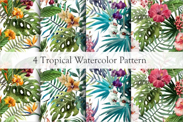 set of tropical floral pattern