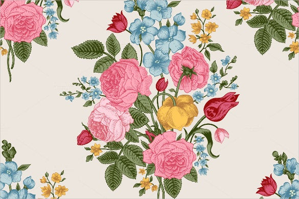 vector vintage floral pattern set