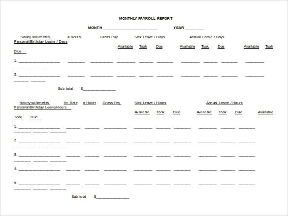 monthly payroll report word doc free template
