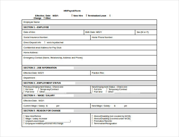 hr payroll form template free doc download