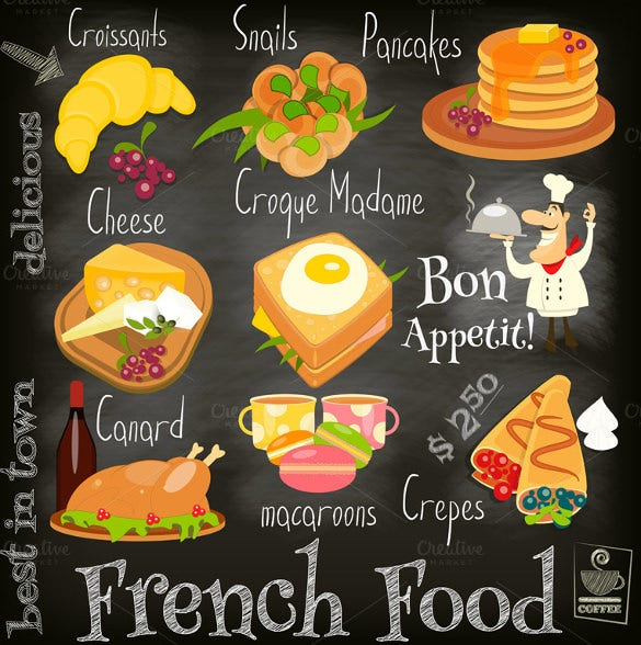 sample french food menu template download