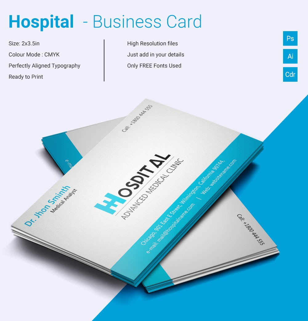 simple hospital business card template free premium templates