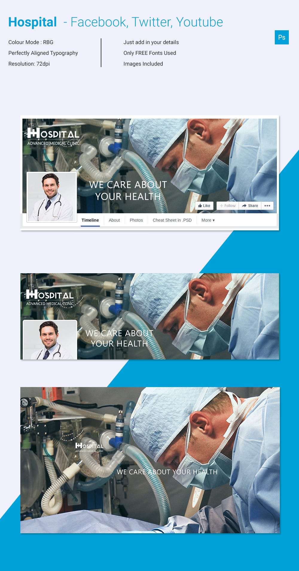 amazing hospital social media cover page template download