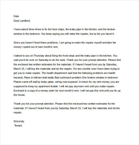 Complaint Letter to Landlord – 8+ Free Word, PDF Documents ...