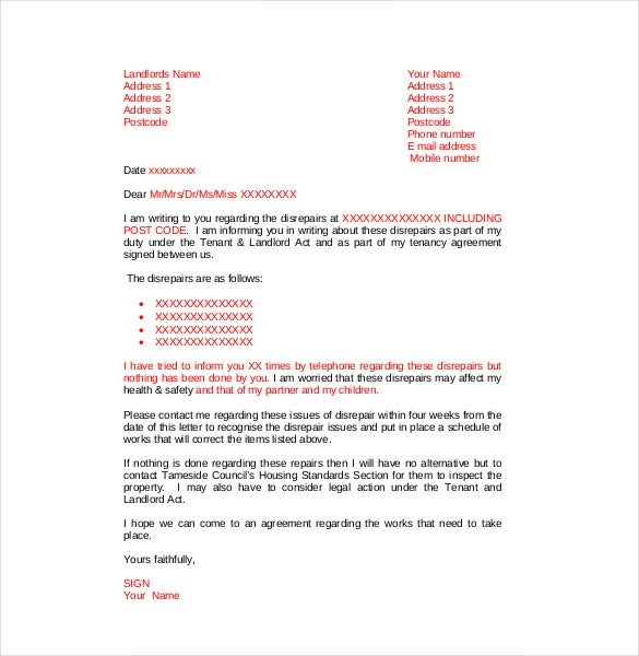 disrepair complaint letter to landlord template